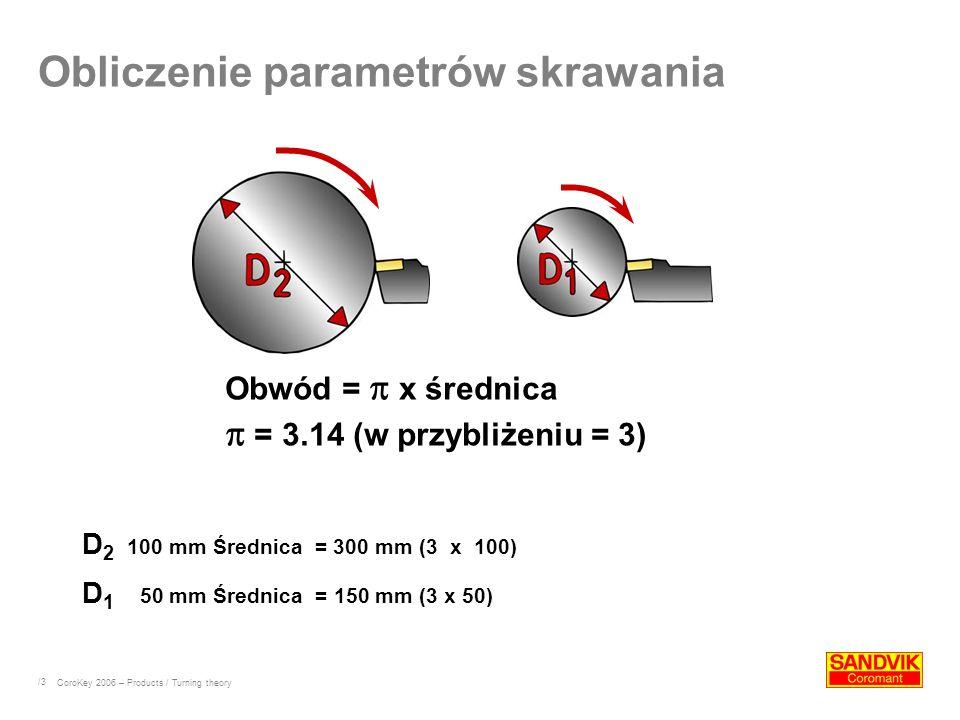 /3 D 2 100 mm Średnica = 300 mm (3 x 100) D 1 50 mm Średnica = 150 mm (3 x 50) Obwód = x średnica = 3.14 (w przybliżeniu = 3) Obliczenie parametrów sk