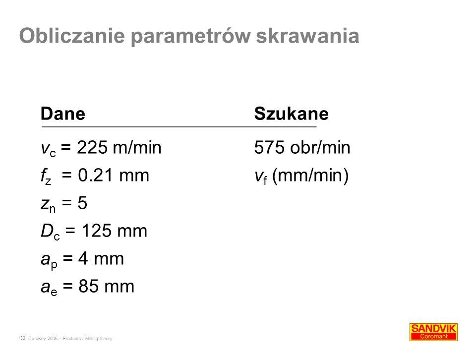 /33 DaneSzukane v c = 225 m/min575 obr/min f z = 0.21 mmv f (mm/min) z n = 5 D c = 125 mm a p = 4 mm a e = 85 mm Obliczanie parametrów skrawania CoroK