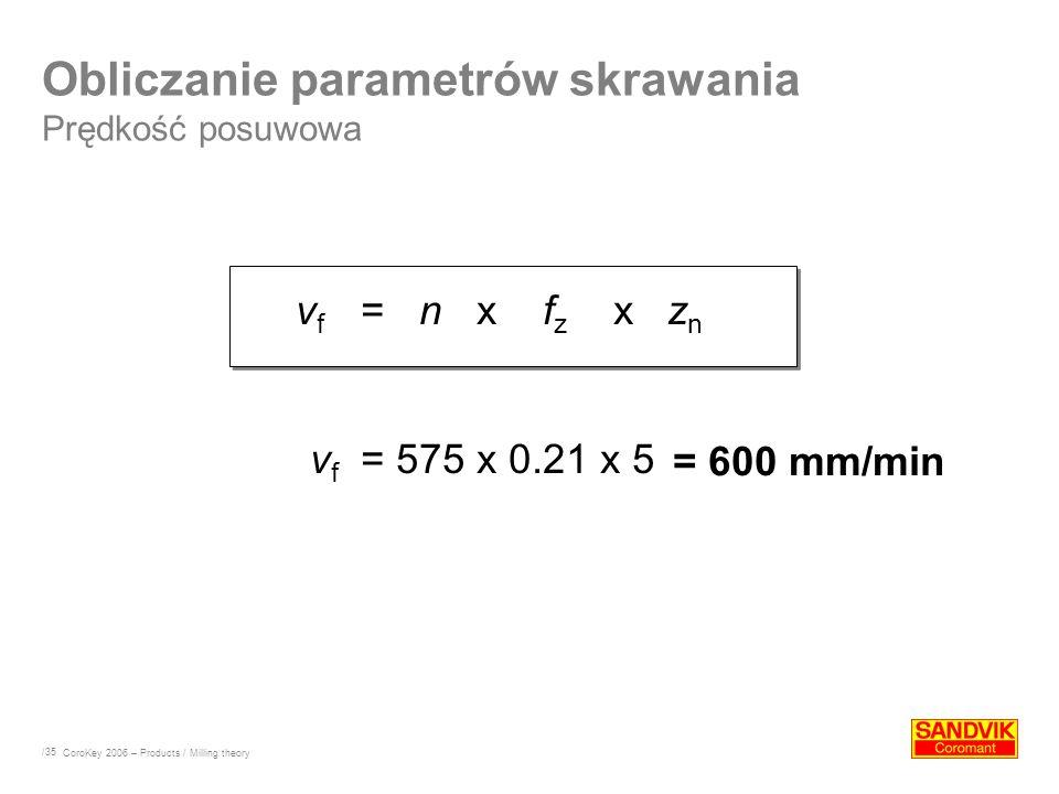 /35 v f = n x f z x z n v f = 575 x 0.21 x 5 Obliczanie parametrów skrawania Prędkość posuwowa = 600 mm/min CoroKey 2006 – Products / Milling theory