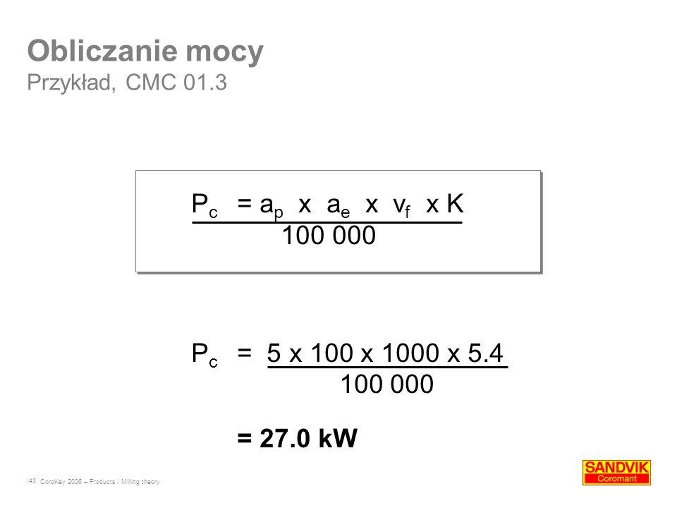 /43 P c = a p x a e x v f x K 100 000 P c = 5 x 100 x 1000 x 5.4 100 000 = 27.0 kW Obliczanie mocy Przykład, CMC 01.3 CoroKey 2006 – Products / Millin