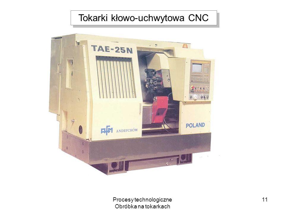 Procesy technologiczne Obróbka na tokarkach 11 Tokarki kłowo-uchwytowa CNC