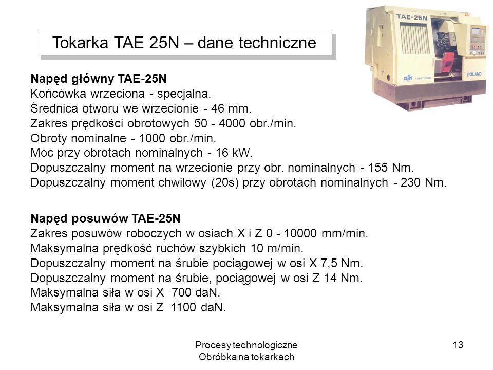Procesy technologiczne Obróbka na tokarkach 13 Napęd główny TAE-25N Końcówka wrzeciona - specjalna. Średnica otworu we wrzecionie - 46 mm. Zakres pręd