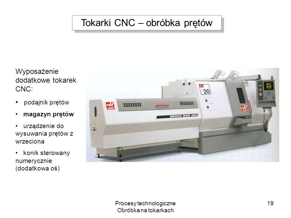 Procesy technologiczne Obróbka na tokarkach 19 Wyposażenie dodatkowe tokarek CNC: podajnik prętów magazyn prętów urządzenie do wysuwania prętów z wrze