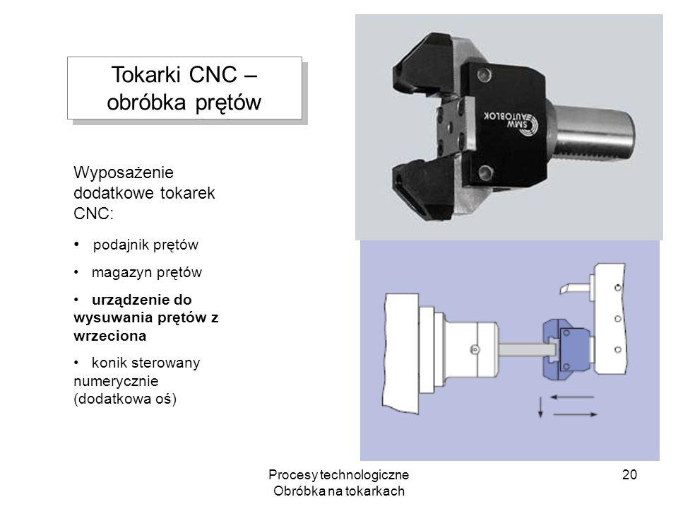 Procesy technologiczne Obróbka na tokarkach 20 Wyposażenie dodatkowe tokarek CNC: podajnik prętów magazyn prętów urządzenie do wysuwania prętów z wrze