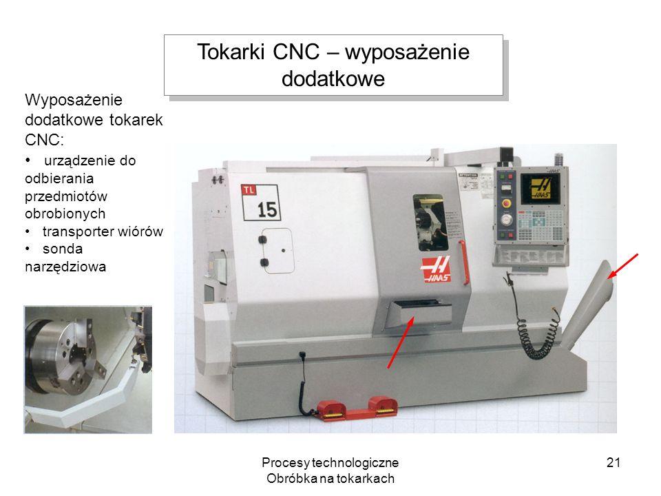 Procesy technologiczne Obróbka na tokarkach 21 Wyposażenie dodatkowe tokarek CNC: urządzenie do odbierania przedmiotów obrobionych transporter wiórów