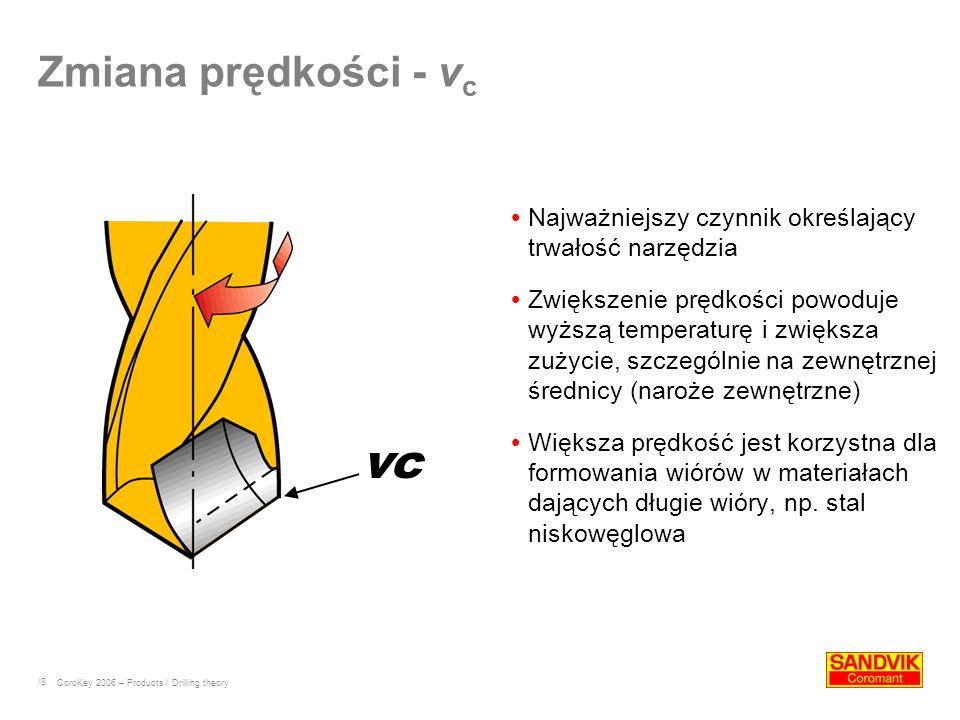 /8 Zmiana prędkości - v c Najważniejszy czynnik określający trwałość narzędzia Zwiększenie prędkości powoduje wyższą temperaturę i zwiększa zużycie, s