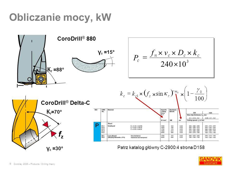 /9 Obliczanie mocy, kW К r =70° fzfz К r =88° Patrz katalog główny C-2900:4 strona D158 CoroDrill ® 880 CoroDrill ® Delta-C CoroKey 2006 – Products /