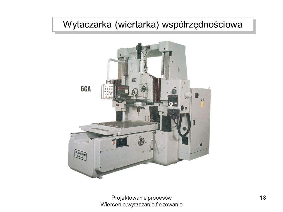 Projektowanie procesów Wiercenie,wytaczanie,frezowanie 18 Wytaczarka (wiertarka) współrzędnościowa