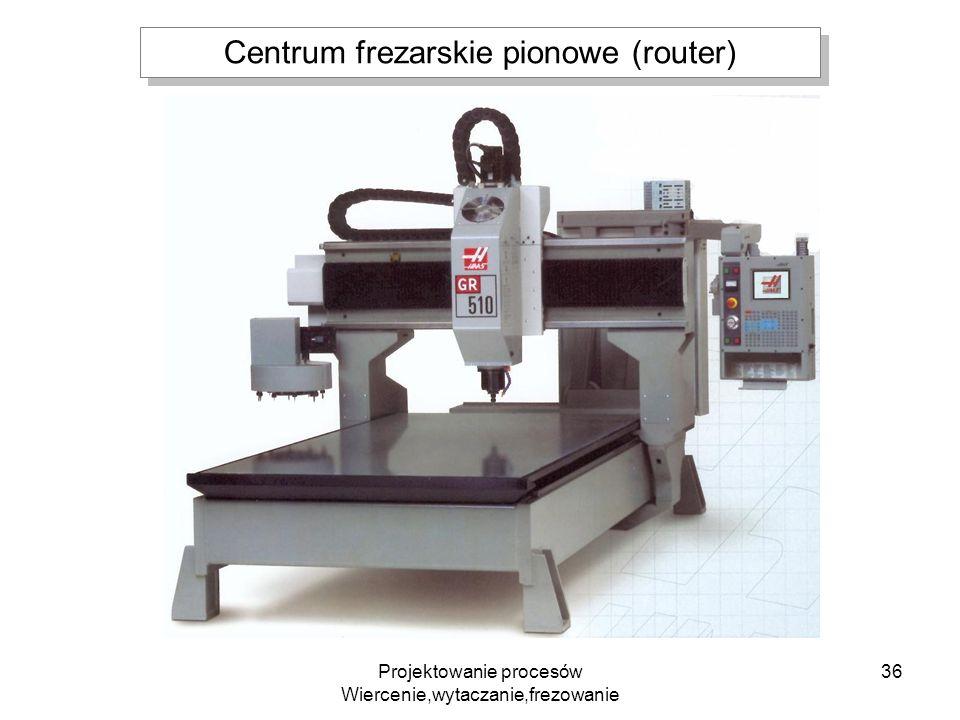 Projektowanie procesów Wiercenie,wytaczanie,frezowanie 36 Centrum frezarskie pionowe (router)