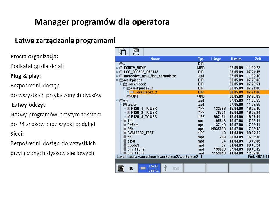 Manager programów dla operatora Prosta organizacja: Podkatalogi dla detali Plug & play: Bezpośredni dostęp do wszystkich przyłączonych dysków Łatwy od