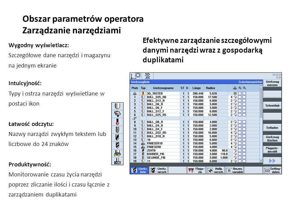 Obszar parametrów operatora Zarządzanie narzędziami Efektywne zarządzanie szczegółowymi danymi narzędzi wraz z gospodarką duplikatami Wygodny wyświetl