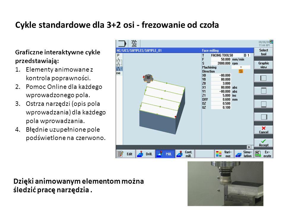 Cykle standardowe dla 3+2 osi - frezowanie od czoła Graficzne interaktywne cykle przedstawiają: 1.Elementy animowane z kontrola poprawności. 2.Pomoc O