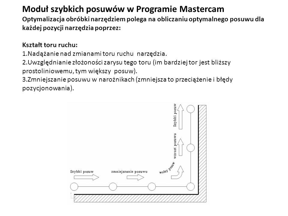 Moduł szybkich posuwów w Programie Mastercam Optymalizacja obróbki narzędziem polega na obliczaniu optymalnego posuwu dla każdej pozycji narzędzia pop