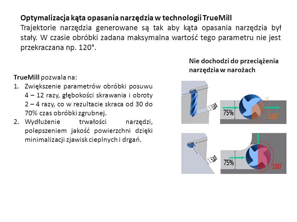 Optymalizacja kąta opasania narzędzia w technologii TrueMill Trajektorie narzędzia generowane są tak aby kąta opasania narzędzia był stały. W czasie o
