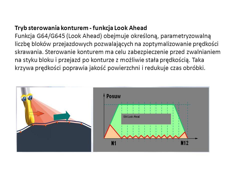 Tryb sterowania konturem - funkcja Look Ahead Funkcja G64/G645 (Look Ahead) obejmuje określoną, parametryzowalną liczbę bloków przejazdowych pozwalają