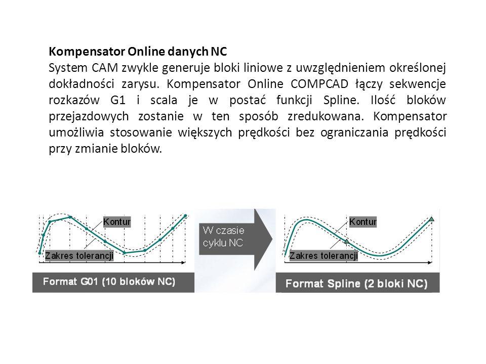 Kompensator Online danych NC System CAM zwykle generuje bloki liniowe z uwzględnieniem określonej dokładności zarysu. Kompensator Online COMPCAD łączy