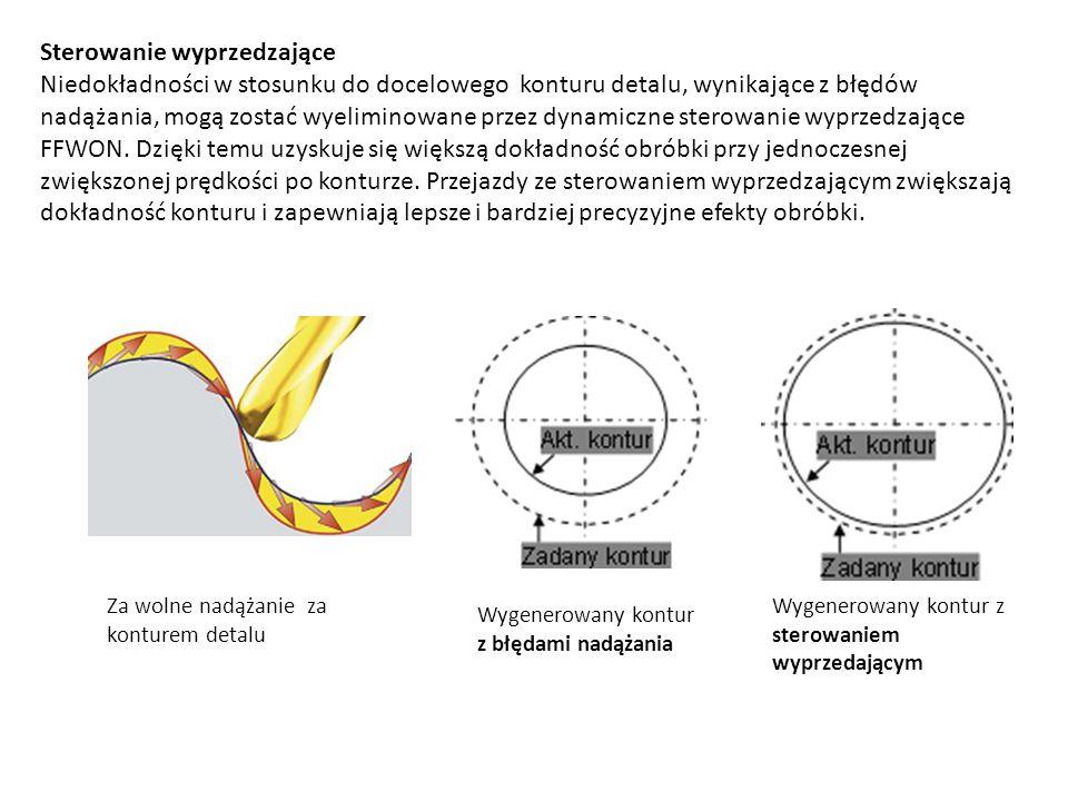 Sterowanie wyprzedzające Niedokładności w stosunku do docelowego konturu detalu, wynikające z błędów nadążania, mogą zostać wyeliminowane przez dynami