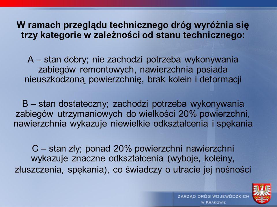 W ramach przeglądu technicznego dróg wyróżnia się trzy kategorie w zależności od stanu technicznego: A – stan dobry; nie zachodzi potrzeba wykonywania