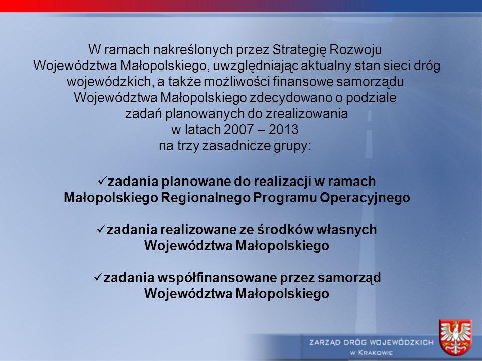 W ramach nakreślonych przez Strategię Rozwoju Województwa Małopolskiego, uwzględniając aktualny stan sieci dróg wojewódzkich, a także możliwości finan