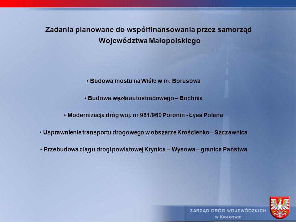 Zadania planowane do współfinansowania przez samorząd Województwa Małopolskiego Budowa mostu na Wiśle w m. Borusowa Budowa węzła autostradowego – Boch
