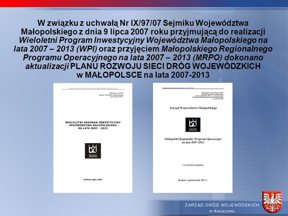 W związku z uchwałą Nr IX/97/07 Sejmiku Województwa Małopolskiego z dnia 9 lipca 2007 roku przyjmującą do realizacji Wieloletni Program Inwestycyjny W