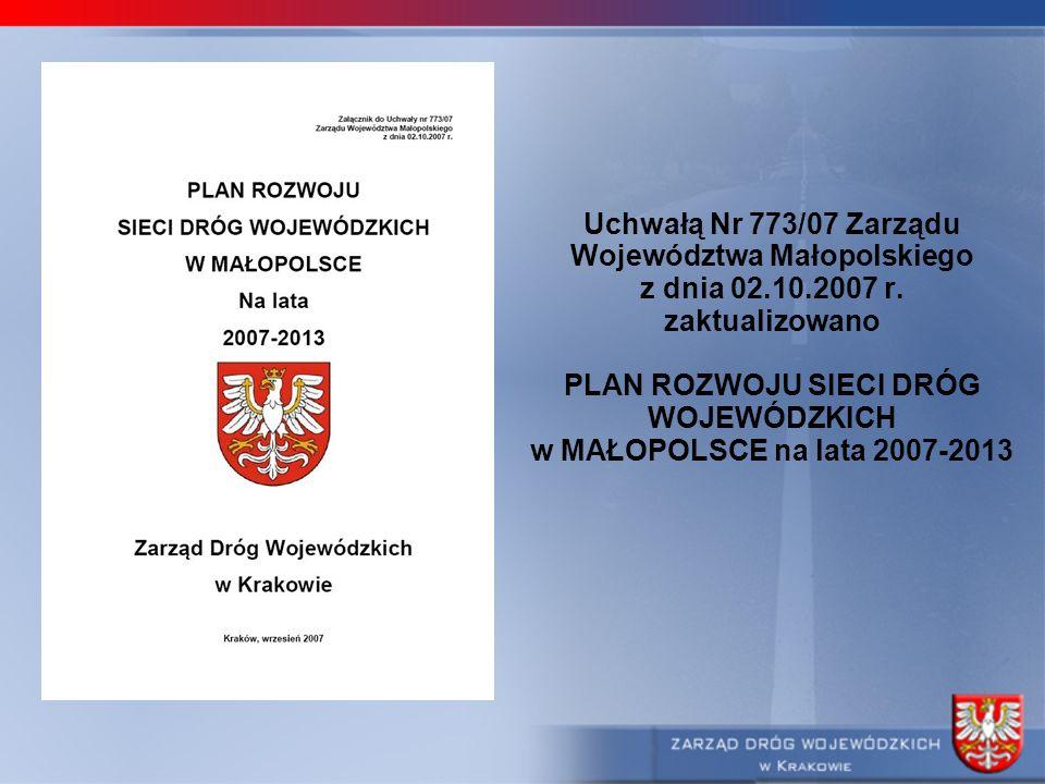 Uchwałą Nr 773/07 Zarządu Województwa Małopolskiego z dnia 02.10.2007 r. zaktualizowano PLAN ROZWOJU SIECI DRÓG WOJEWÓDZKICH w MAŁOPOLSCE na lata 2007