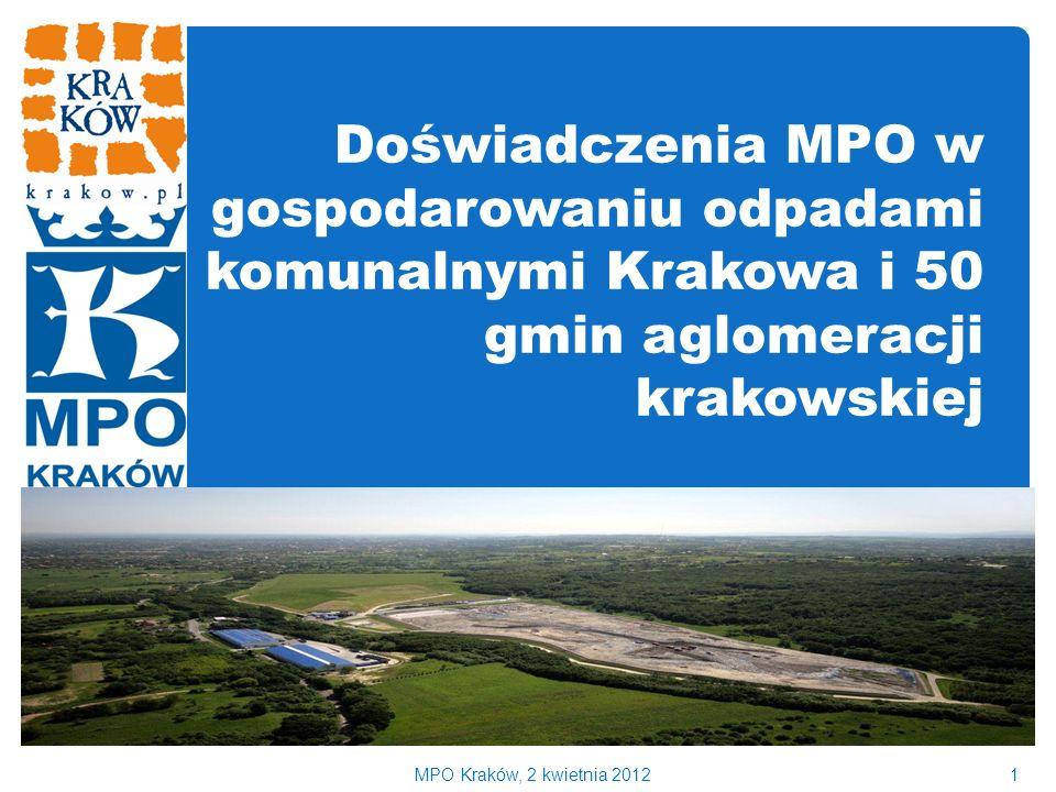 Doświadczenia MPO w gospodarowaniu odpadami komunalnymi Krakowa i 50 gmin aglomeracji krakowskiej 1MPO Kraków, 2 kwietnia 2012