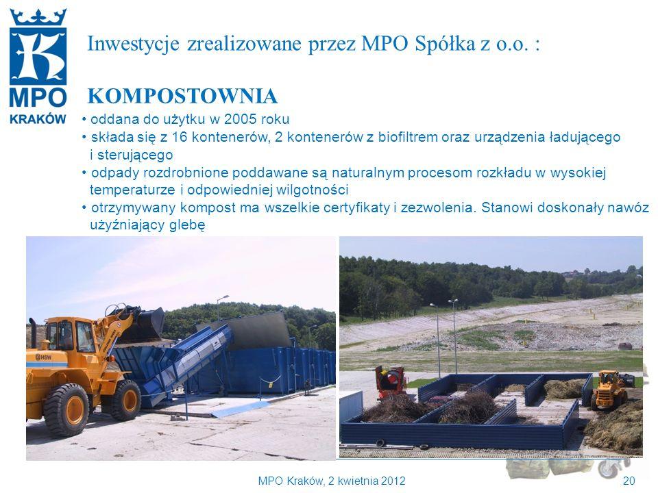 MPO Kraków, 2 kwietnia 201220 Kilka słów o MPO Kraków Inwestycje zrealizowane przez MPO Spółka z o.o.