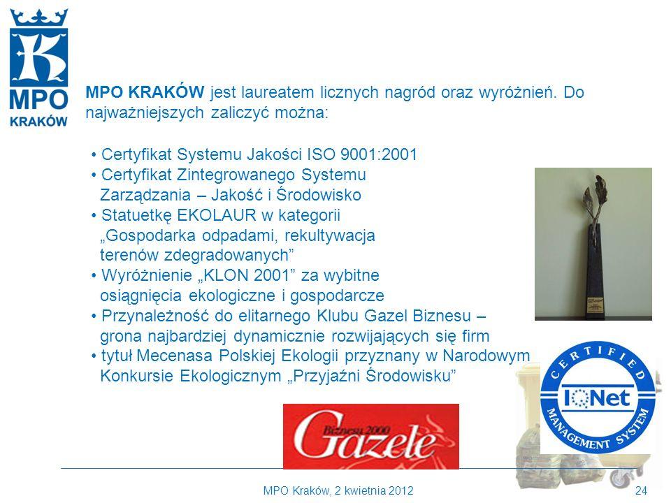 MPO Kraków, 2 kwietnia 201224 MPO KRAKÓW jest laureatem licznych nagród oraz wyróżnień.