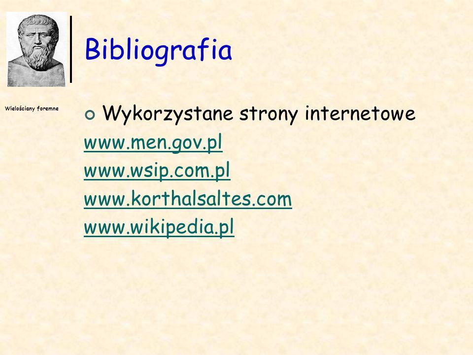 Wielościany foremne Bibliografia Wykorzystane strony internetowe www.men.gov.pl www.wsip.com.pl www.korthalsaltes.com www.wikipedia.pl