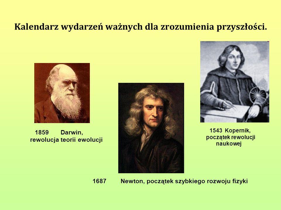 Kalendarz wydarzeń ważnych dla zrozumienia przyszłości. 1543 Kopernik, początek rewolucji naukowej 1687Newton, początek szybkiego rozwoju fizyki 1859D