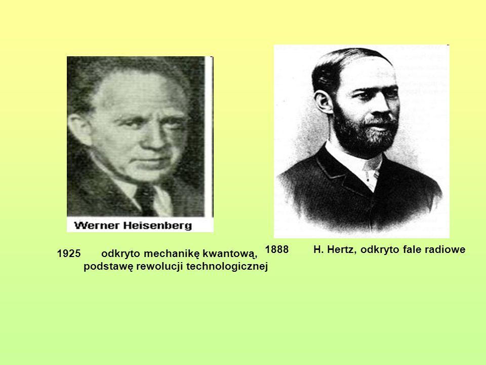 1888H. Hertz, odkryto fale radiowe 1925odkryto mechanikę kwantową, podstawę rewolucji technologicznej