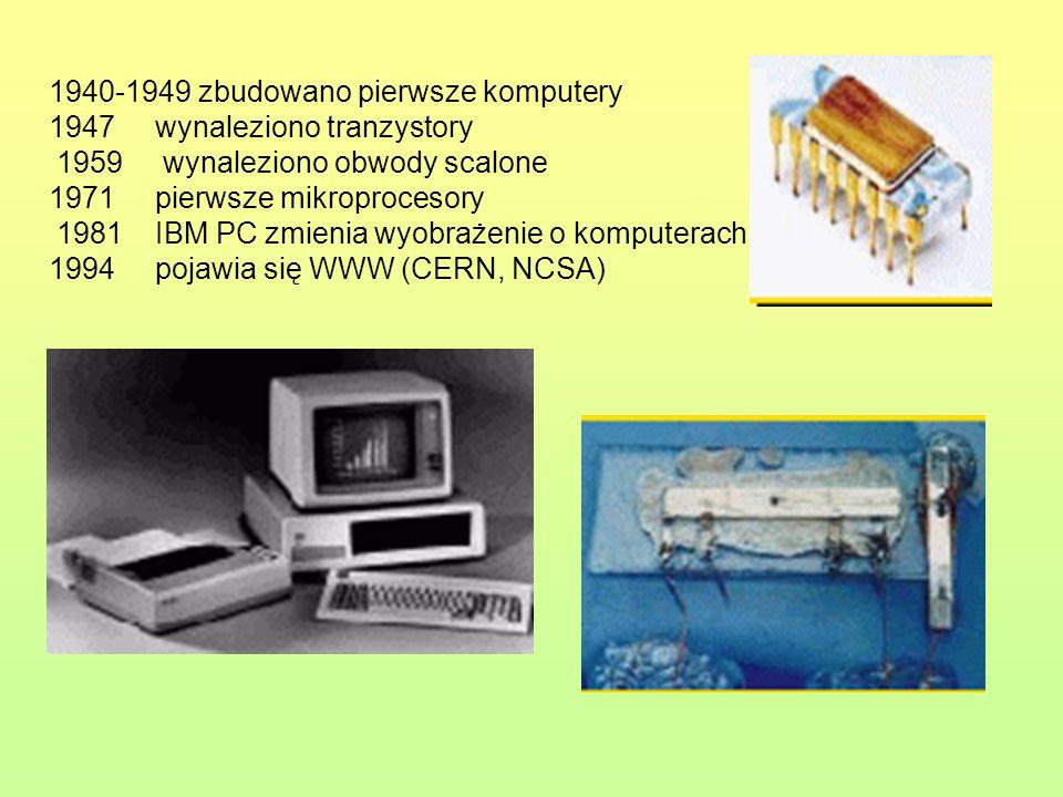 1940-1949 zbudowano pierwsze komputery 1947 wynaleziono tranzystory 1959 wynaleziono obwody scalone 1971pierwsze mikroprocesory 1981IBM PC zmienia wyo