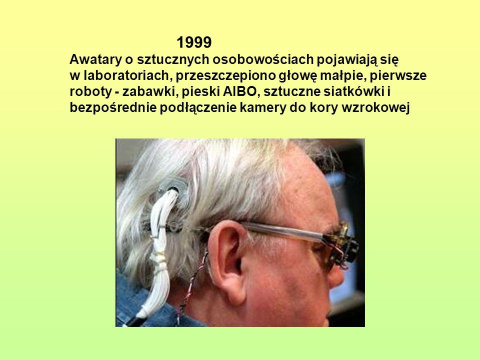 1999 Awatary o sztucznych osobowościach pojawiają się w laboratoriach, przeszczepiono głowę małpie, pierwsze roboty - zabawki, pieski AIBO, sztuczne s