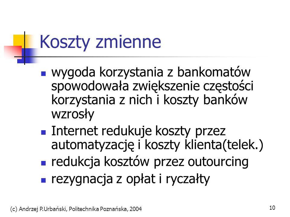 (c) Andrzej P.Urbański, Politechnika Poznańska, 2004 10 Koszty zmienne wygoda korzystania z bankomatów spowodowała zwiększenie częstości korzystania z