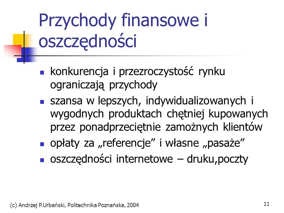 (c) Andrzej P.Urbański, Politechnika Poznańska, 2004 11 Przychody finansowe i oszczędności konkurencja i przezroczystość rynku ograniczają przychody s