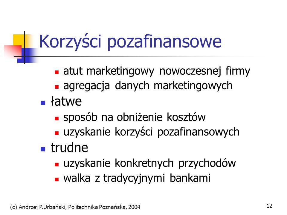 (c) Andrzej P.Urbański, Politechnika Poznańska, 2004 13 Realizacja bankowości internetowej - zakres usług oferta podstawowa sprawdz.salda, historia, lokaty, przesuwanie środków