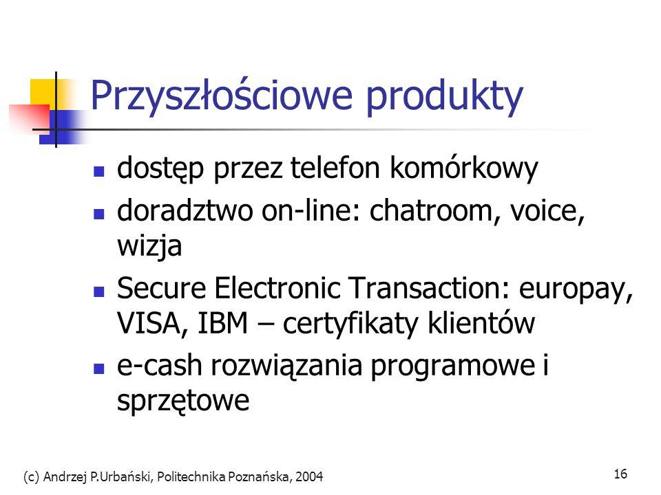 (c) Andrzej P.Urbański, Politechnika Poznańska, 2004 16 Przyszłościowe produkty dostęp przez telefon komórkowy doradztwo on-line: chatroom, voice, wiz