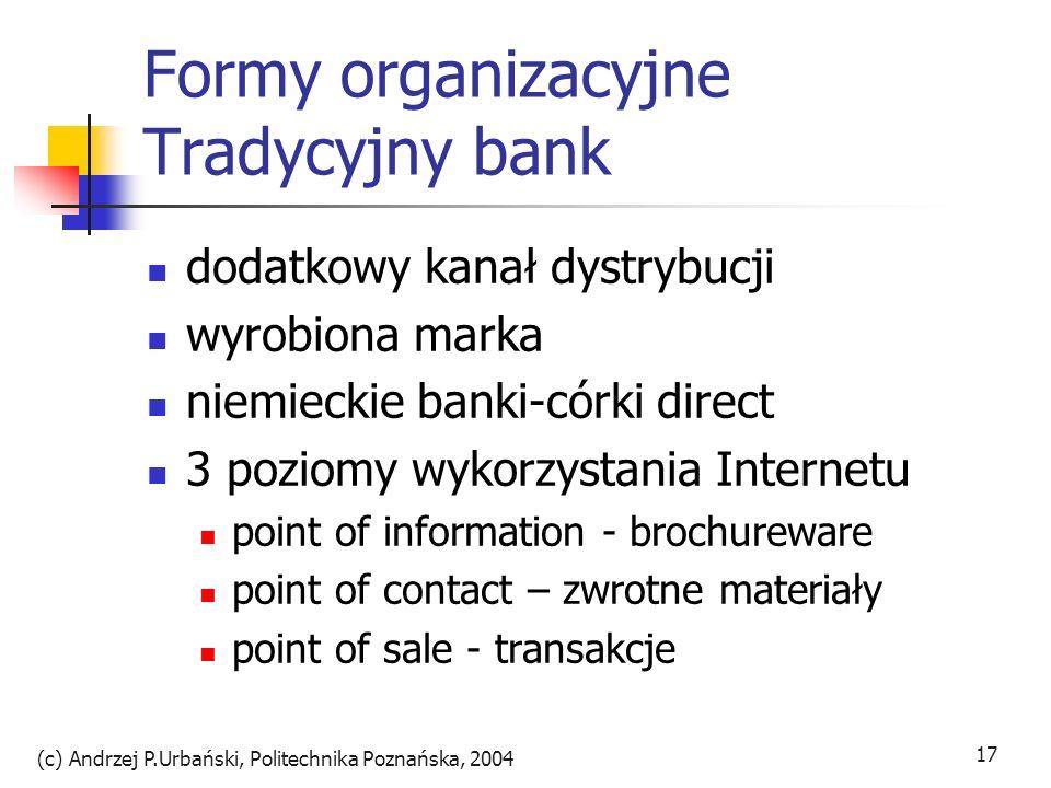 (c) Andrzej P.Urbański, Politechnika Poznańska, 2004 17 Formy organizacyjne Tradycyjny bank dodatkowy kanał dystrybucji wyrobiona marka niemieckie ban