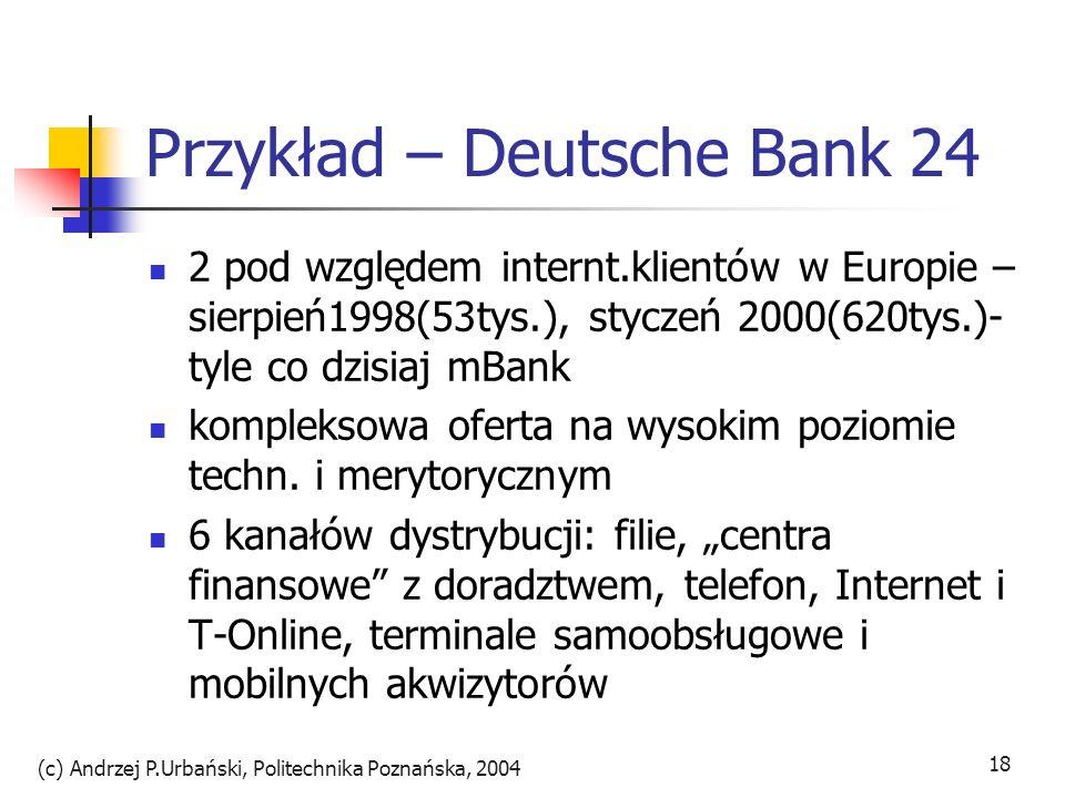(c) Andrzej P.Urbański, Politechnika Poznańska, 2004 19 DB24 plan ograniczania filii i personelu rozwój dystrybucji online produkty wymagające intensywnego doradztwa w 250 centrach finansowych i przez akwizytorów prosty dostęp do konta z Yahoo.de agresywna kampania reklamowa