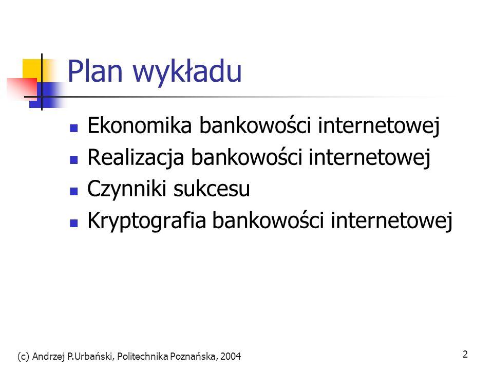 (c) Andrzej P.Urbański, Politechnika Poznańska, 2004 2 Plan wykładu Ekonomika bankowości internetowej Realizacja bankowości internetowej Czynniki sukc