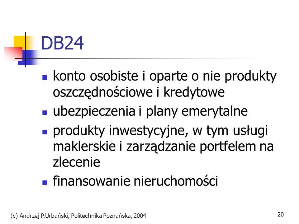 (c) Andrzej P.Urbański, Politechnika Poznańska, 2004 20 DB24 konto osobiste i oparte o nie produkty oszczędnościowe i kredytowe ubezpieczenia i plany