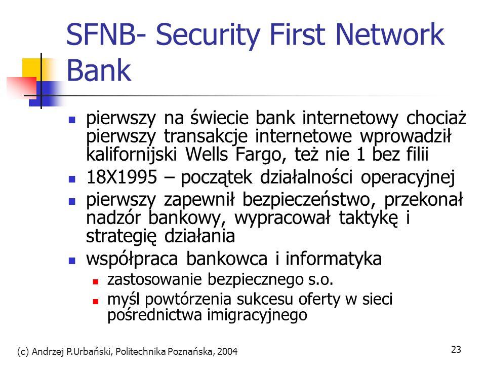 (c) Andrzej P.Urbański, Politechnika Poznańska, 2004 23 SFNB- Security First Network Bank pierwszy na świecie bank internetowy chociaż pierwszy transa