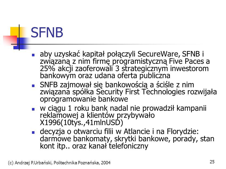 (c) Andrzej P.Urbański, Politechnika Poznańska, 2004 25 SFNB aby uzyskać kapitał połączyli SecureWare, SFNB i związaną z nim firmę programistyczną Fiv