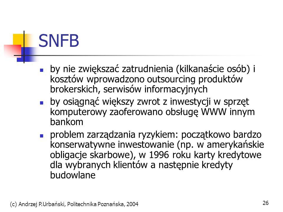 (c) Andrzej P.Urbański, Politechnika Poznańska, 2004 27 SFNB bank zyskiwał nowych klientów o ponadprzeciętnym statusie materialnym (ponad połowa ma własny dom i >50tys.USD rocznego dochodu przy przec.42tys.USD) paleta produktów: od prostych rachunków osobistych (limit 35 oper.mies.) bez limitu papierowych czków atrakcyjnie oprocentowane rachunki czekowe certyfikaty depozytowe, usługi maklerskie, karty kredytowe możliwość załadowania historii do 18mies.wstecz we wrześniu 1998 bank został sprzedany kanadyjskiemu Royal Bank zyskując nowe środki na rozwój oprogramowania