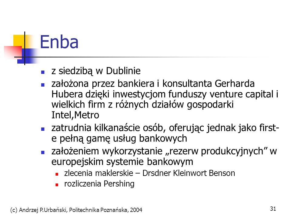(c) Andrzej P.Urbański, Politechnika Poznańska, 2004 32 Enba klient sam zarządza kontem doradcy:klienci=1:1000 gdy w bankowości telefonicznej 1:10 chce zaoferować bankowość w pudełku małym bankom i firmom bez licencji bankowej np.