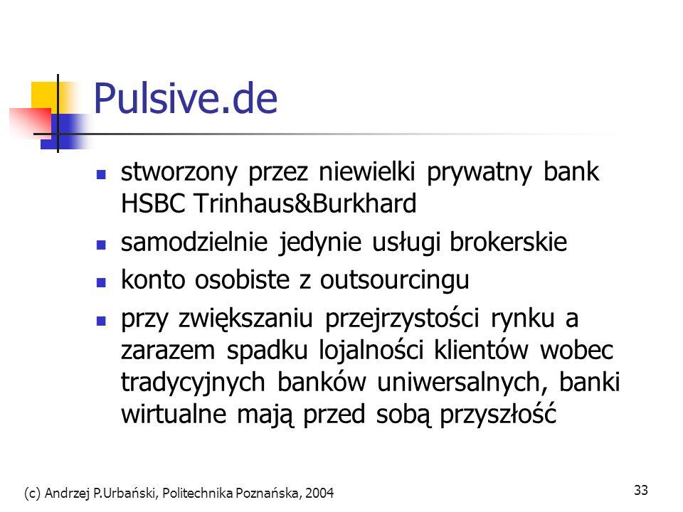 (c) Andrzej P.Urbański, Politechnika Poznańska, 2004 33 Pulsive.de stworzony przez niewielki prywatny bank HSBC Trinhaus&Burkhard samodzielnie jedynie