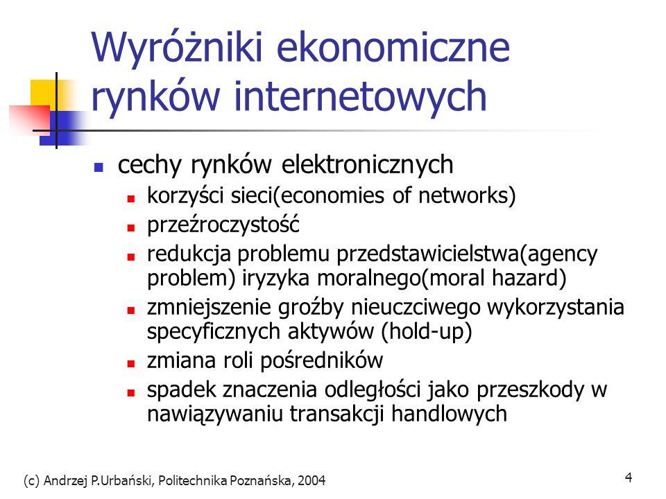 (c) Andrzej P.Urbański, Politechnika Poznańska, 2004 4 Wyróżniki ekonomiczne rynków internetowych cechy rynków elektronicznych korzyści sieci(economie