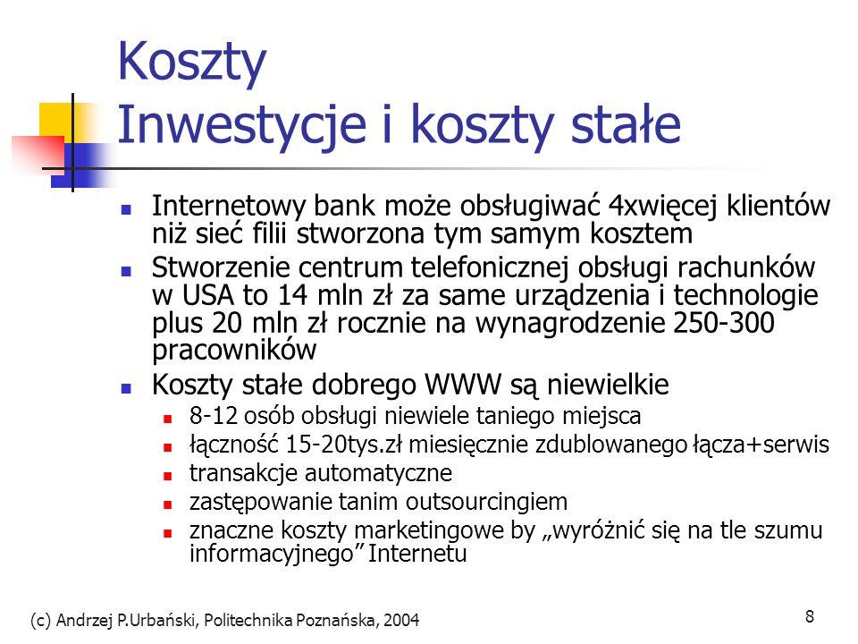 (c) Andrzej P.Urbański, Politechnika Poznańska, 2004 9 Koszty zmienne o rząd wielkości niższe niż w tradycyjnym banku Booz, Allen&Hamilton - koszt transakcji: tradycyjny oddział - 1,07 USD telefon – 0,54 USD pełnoobsługowy bankomat – 0,27 USD bankowość elektroniczna – 0,015 USD bankowość internetowa – 0,01 USD