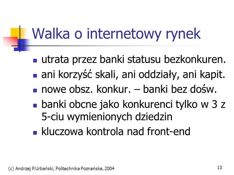 (c) Andrzej P.Urbański, Politechnika Poznańska, 2004 13 Walka o internetowy rynek utrata przez banki statusu bezkonkuren. ani korzyść skali, ani oddzi